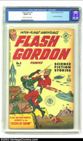 """Golden Age (1938-1955):Science Fiction, Flash Gordon #4 (Harvey, 1951) CGC FN/VF 7.0 Cream to off-white pages. A wonderful cover with Flash doing battle in the """"Ste..."""
