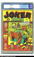 Golden Age (1938-1955):Humor, Joker Comics #1 (Timely, 1942) CGC VF 8.0 Off-white pages. This issue is the first appearance of Powerhouse Pepper by Basil ...