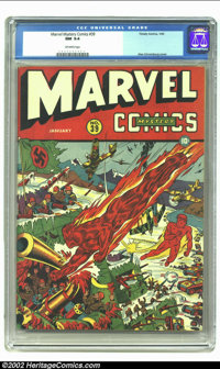 Marvel Mystery Comics #39 (Timely, 1943) CGC NM 9.4 Off-white pages. Alex Schomburg depicts the action as the Human Torc...