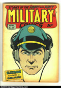 Golden Age (1938-1955):War, Military Comics #38 (Quality, 1945) Condition: VG+. Blackhawk isnot be trifled with in this Al Bryant cover. Only five issu...
