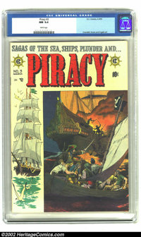 Piracy #3 (EC, 1955) CGC NM 9.4 White pages. Reed Crandall captures a group of pirates rowing in to join the fight aboar...