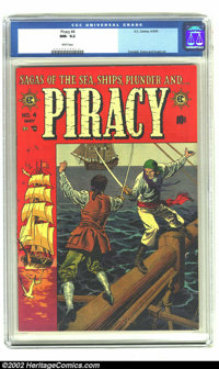 Piracy #4 (EC, 1955) CGC NM- 9.2 White pages. Reed Crandall beautifully depicts two pirates having a sword fight high up...