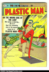 Plastic Man #26 (Quality, 1950) Condition: VG/FN. Is Plastic Man a thief? Why is he robbing the jewelry store? Why? Why?...