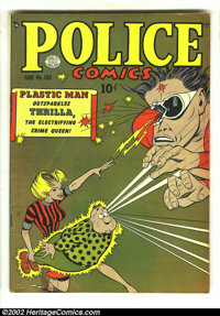 Police Comics #100 (Quality 1950) Condition: VG/FN. This is an incredible cover that must be seen to be fully appreciate...