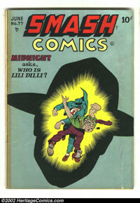 Smash Comics #77 (Quality 1949) Condition: VG-. Here is one great Cole cover with the Spirit in action. Overstreet 2002...