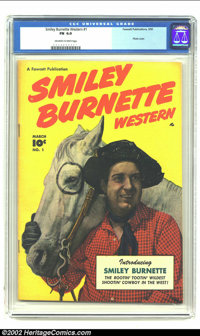 Smiley Burnette Western #1 (Fawcett, 1950) CGC FN 6.0 Off-white to white pages. Photo cover. Overstreet 2002 FN 6.0 valu...