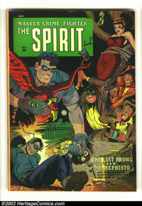 The Spirit #4 (Quality, 1953) Condition: FN+. Wonderfully busy bondage cover with the Spirit's ghost taking on the bad g...