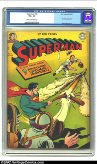 Superman #66 (DC, 1950) CGC VG+ 4.5 Cream to off-white pages. A classic Superman sporting theme in this hot yellow cover...