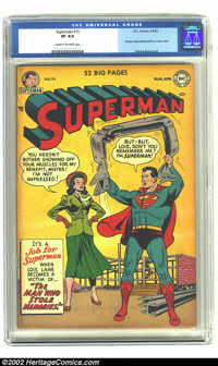 Superman #75 (DC) CGC VF 8.0 Cream to off-white pages. Superman impresses Lois Lane by bending steel. Overstreet VF 8.0...