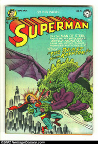 Superman #78 (DC, 1952) Condition: FN+. Jumping on the horror bandwagon, this is about as graphic as a Superman cover ev...