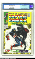 Silver Age (1956-1969):Superhero, Tales of Suspense #98 (Marvel, 1968) CGC VF+ 8.5 Off-white to White pages. Captain America tussles with the Black Panther on...
