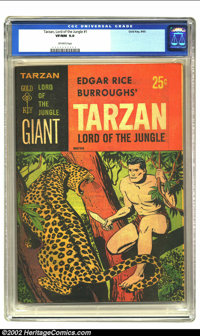 Tarzan Lord of the Jungle (Giant) #1 (Gold Key, 1965) CGC VF/NM 9.0 Off-white pages. Overstreet 2002 NM 9.4 value = $95...