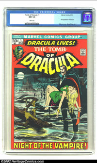 Tomb of Dracula #1 (Marvel, 1972) CGC NM 9.4 White pages. First appearance of Dracula; Neal Adams cover, Gene Colan art...