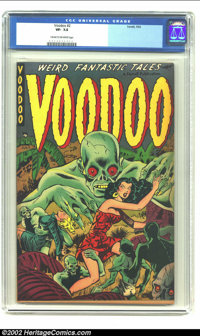 Voodoo #2 (Farrell, 1952) CGC VF- 7.5 Cream to off-white pages. A truly wonderful image with the zombie men trying to ta...