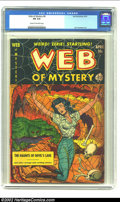 """Golden Age (1938-1955):Horror, Web of Mystery #8 (Ace, 1952) CGC FN 6.0 Cream to off-white pages.Spider web, """"headlight,"""" and skull cover. Overstreet 2002..."""