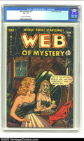 Golden Age (1938-1955):Horror, Web of Mystery #10 (Ace, 1952) CGC VF- 7.5 Cream to off-whitepages. Cleavage cover. Overstreet 2002 VF 8.0 value = $145....