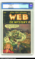 Golden Age (1938-1955):Horror, Web of Mystery #12 (Ace, 1952) CGC VF+ 8.5 Cream to off-whitepages. John Chilly's first cover art which features a roller c...