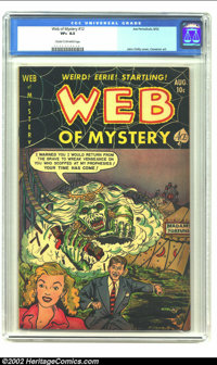 Web of Mystery #12 (Ace, 1952) CGC VF+ 8.5 Cream to off-white pages. John Chilly's first cover art which features a roll...