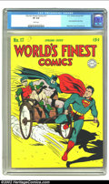 Golden Age (1938-1955):Superhero, World's Finest Comics #17 (DC, 1945) CGC VF 8.0 White pages. This issue features the last of the run's cardboard covers, an ...