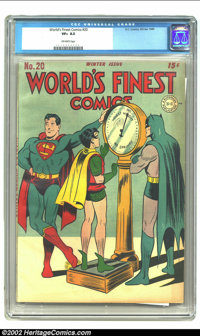 World's Finest Comics #20 (DC, 1945) CGC VF+ 8.5 Off-white pages. Jack Burnley and Charles Paris give us a light-hearted...