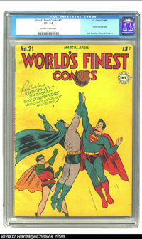 World's Finest Comics #21 (DC, 1946) CGC VF- 7.5 Off-white to White pages. What could be better than a cover of Batman a...