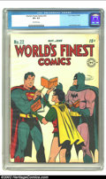 Golden Age (1938-1955):Superhero, World's Finest Comics #22 (DC, 1946) CGC VF+ 8.5 Off-white pages. Jack Burnley's winsome cover is set against a white backgr...