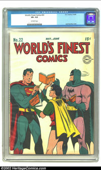 World's Finest Comics #22 (DC, 1946) CGC VF+ 8.5 Off-white pages. Jack Burnley's winsome cover is set against a white ba...