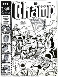 Jack Kirby and Joe Simon - Original Cover Art for Champ #23 (Harvey, 1942). Covering a book that features such unforgett...
