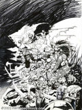 "Original Comic Art:Sketches, Simon Bisley - Original Art Sketches ""Barbarians"" (undated). A large Bisley sketch of skeletons and barbarians on the attack..."