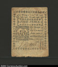 Colonial Notes:Connecticut, October 11, 1777, 4d, Connecticut, CT-216, VF-XF. This blue ...