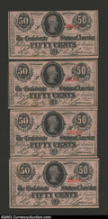 Confederate Notes:1863 Issues, Four Consecutive 1863 50 Cents Bust of Jefferson Davis, T-63, ...