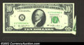 Error Notes:Foldovers, 1977 $10 Federal Reserve Note, Fr-2023-A, Extremely Fine. A ...