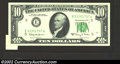 Error Notes:Attached Tabs, 1963-A $10 Federal Reserve Note, Fr-2017-E, Gem CU. An extra ...