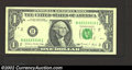 Error Notes:Ink Smears, 1988 $1 Federal Reserve Note, Fr-1914-B, Very Fine. A solvent ...
