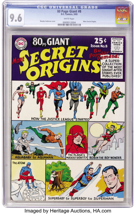 80 Page Giant #8 More Secret Origins (DC, 1965) CGC NM+ 9.6 White pages....