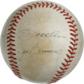 Autographs:Baseballs, Baseball Hall of Famers Multi-Signed Baseball. A half dozen membersof baseball's Hall of Fame appear on the surface of the...