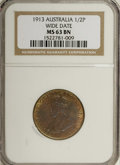 Australia: , Australia: George V Half Penny 1913 Wide Date, KM22, MS63 BrownNGC, fully lustrous in the peripheral legends....