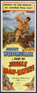 """Movie Posters:Adventure, Jungle Man-Eaters (Columbia, 1954). Insert (14"""" X 36""""). Adventure.Starring Johnny Weissmuller as Jungle Jim, Karin Booth, R..."""