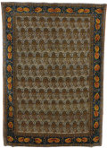 Rugs & Textiles:Carpets, A Fine Silk Rope Sennah Rug. Persia. Circa 1960. Wool, silk. 122.8inches x 78.75 inches. Fine quality warp silk with pa...
