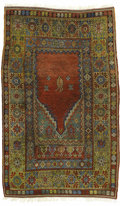 Rugs & Textiles:Carpets, A Rare Antique Mudjur Prayer Rug. Central Anatolian, Circa 1890.Wool. 74.8 inches x 46 inches...