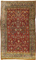 Rugs & Textiles:Carpets, An Antique Deccani Silk Rug. India, Circa 1900. Silk, wool. 82inches x 53.5 inches. With beautiful light blue border....