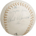 Autographs:Baseballs, 1950's Paul Waner Single Signed Baseball. A very tough single from the far more challenging (for autograph collectors) half...