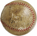 Autographs:Baseballs, 1934 Babe Ruth & Lou Gehrig Signed Baseball. A September, 1934 vintage notation on this OAL (Harridge) sphere dates this im...