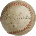Baseball Collectibles:Balls, 1946 Babe Ruth's Last Home Run Baseball, Signed. It's a little known fact that the Babe gave the final exhibition of his ho...