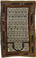 Rugs & Textiles:Carpets, An Antique Daghestan Prayer Rug. Caucasian, Circa 1880. Wool. 72inches x 50 inches. Finely woven with white background ...