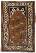 Rugs & Textiles:Carpets, A Rare Turkish Prayer Rug. West Anatolia, Circa 1880. Wool. 55.5inches x 39.75 inches. Woven with rose background and b...