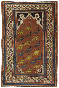 A Rare Turkish Prayer Rug  West Anatolia, Circa 1880 Wool 55.5 inches x 39.75 inches  Woven with rose background and b...