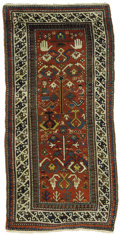 Rugs & Textiles:Carpets, An Antique Gendje Prayer Rug. Caucasian, Circa 1860-70. Wool. 62.6inches x 31.125 inches. Finely woven with figure in c...