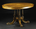 Furniture : American, Victorian Oval Tilt-Top Table. Unknown maker, English. Circa1870-1890. Burl wood veneer, and other various woods. 26 x 53.5...