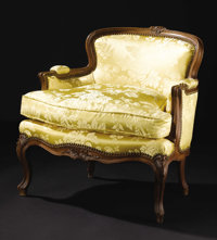 A French Upholstered Low-Back Chair  Unknown maker, French Early Twentieth Century Walnut Unmarked 29.25 inches high